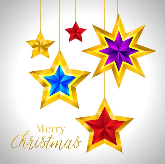 Satz einfache goldene bunte sterne neujahr weihnachten