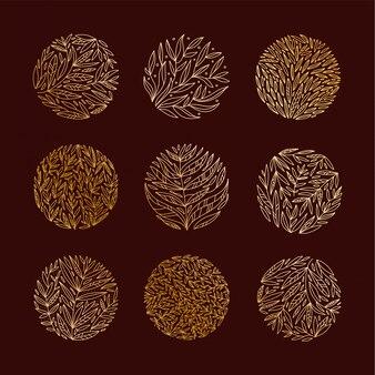 Satz einfache und elegante logo-design-vorlagen im trendigen linearen stil mit goldenen blättern und zweigen