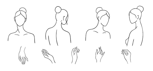 Satz einfache weibliche köpfe und hände durch linie gezeichnet. frauen minimalistische konturporträts
