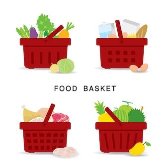 Satz einkaufskörbe mit bio- und gesunden lebensmitteln im supermarkt. gemüse-, obst-, frischfleisch- und milchprodukte. flache ikonen-karikaturillustration.