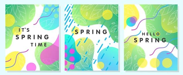 Satz einzigartige frühlingskarten mit hellen kleinen steigungsverlaufsblättern, fließenden formen und geometrischen elementen im memphis-stil.