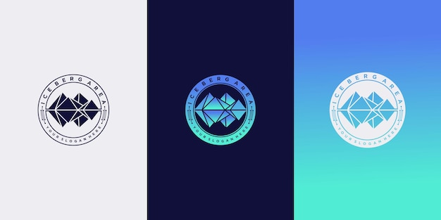 Satz eisberg-logo-designschablone mit kreativem emblem stil premium-vektor