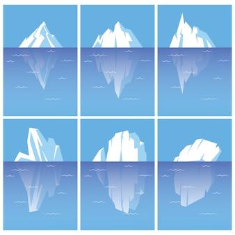 Satz eisberge mit unterwasserteil. flache stilillustrationen lokalisiert auf weißem hintergrund.
