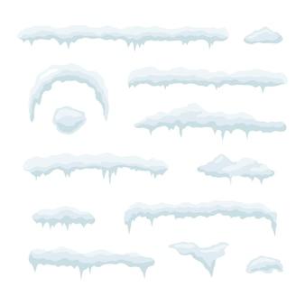 Satz eiskappen. schneeverwehungen, eiszapfen, elemente winterdekor. vektorillustration lokalisiert auf weißem hintergrund.