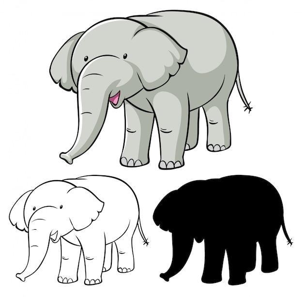 Satz elefantenkarikatur