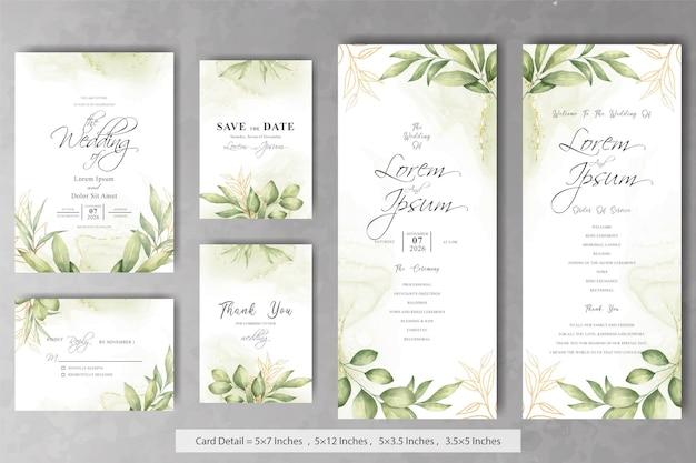 Satz elegante aquarell-laub-hochzeits-einladungskarte
