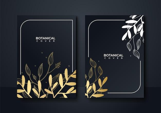 Satz elegante broschüre, karte, abdeckung. schwarze und goldene marmorstruktur. vintage-goldener hintergrund. geometrischer rahmen. palm exotische blätter. botanische kunst