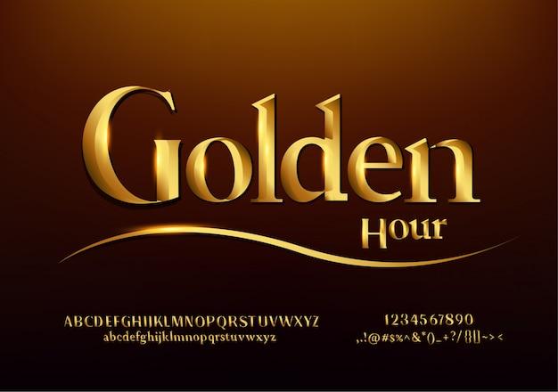 Satz elegante goldfarbene metall-chrom-alphabet-schriftart.