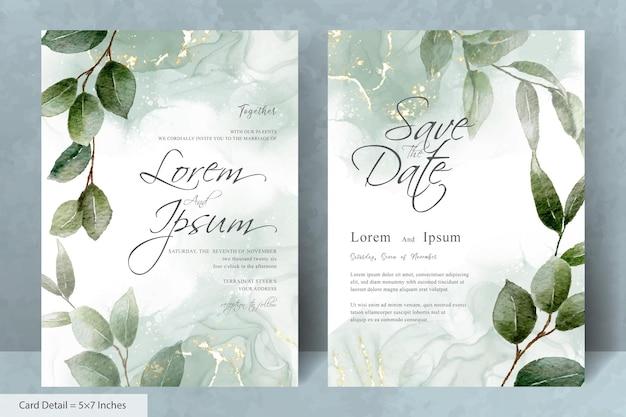 Satz elegante hochzeitseinladungsschablone mit hand gezeichnetem blumen- und aquarellhintergrund