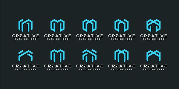 Satz eleganter minimalistischer technologiebuchstaben m logo-designelemente