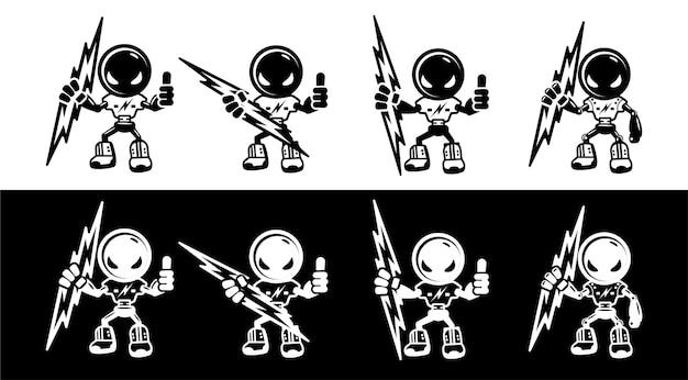 Satz elektriker-maskottchenroboter in der schwarzen weißen farbe