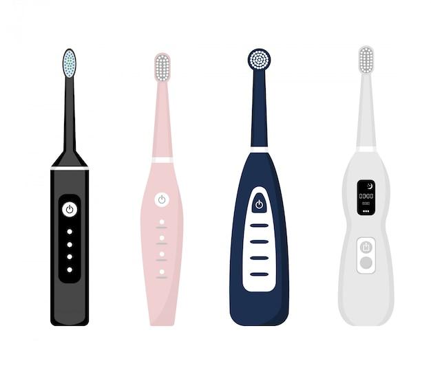 Satz elektrische zahnbürstenikonen lokalisiert auf weißem hintergrund. element zur zahnreinigung. abbildung der zahnarztausrüstung. zahnpflegewerkzeug im flachen stil.