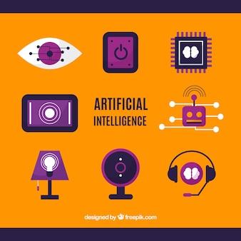 Satz elemente der künstlichen intelligenz im flachen design