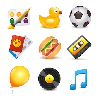 Satz elemente musik, ente, ball, ballon, farbe, hamburger, kassettenmusikvinyl