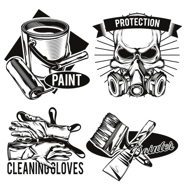 Satz embleme der malereinrichtungen