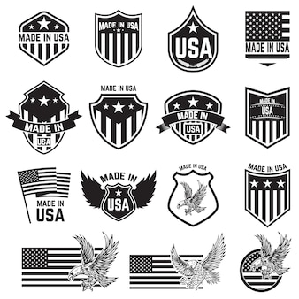 Satz embleme mit usa-zeichen. elemente für poster. karte, zeichen. illustration