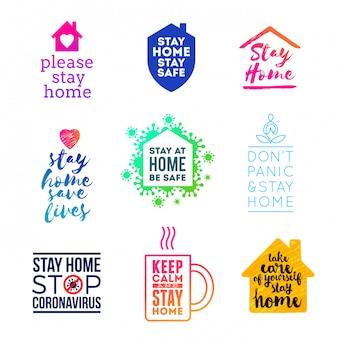 Satz embleme und logo mit slogan - bleiben sie zu hause. logo mit anderem stil - bleib zu hause.