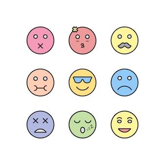 Satz emoji-ikonen lokalisiert auf weißem hintergrund