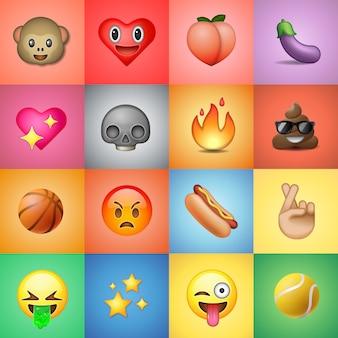 Satz emoticons, emoji, bunter hintergrund, illustration