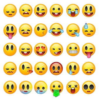 Satz emoticons, emoji lokalisiert auf weißem hintergrund, illustration.