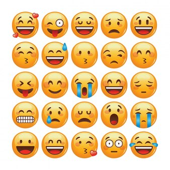 Satz emoticons. isolierte illustration