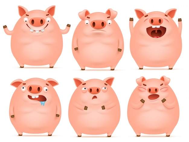 Satz emotionale rosa schweincharaktere der netten karikatur.