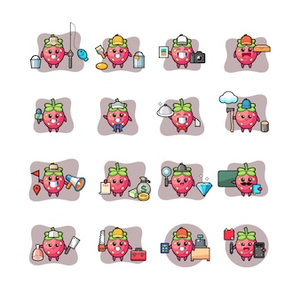 Satz erdbeer kawaii charakterberuf