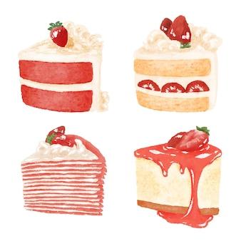 Satz erdbeerkuchen und dessertillustration