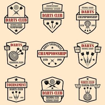 Satz etikettenvorlagen für dartclubs. gestaltungselement für logo, etikett, schild, poster, t-shirt.