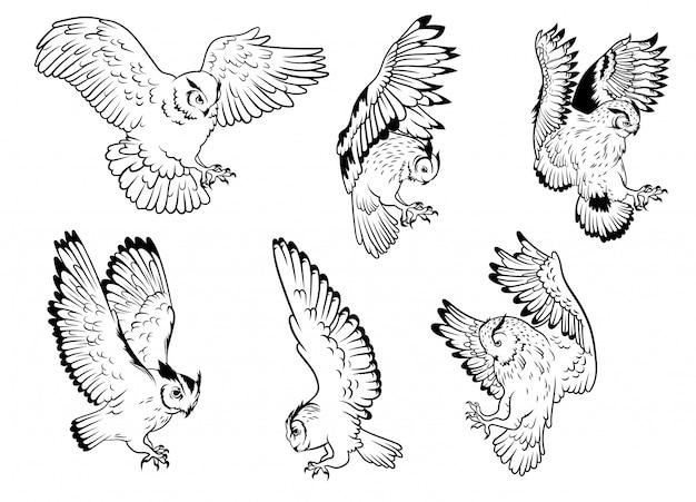 Satz eulen. sammlung von silhouetten von eulen mit ausgebreiteten flügeln. ein symbol der weisheit.
