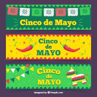 Satz fahnen cinco des mayo mit traditionellen elementen