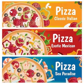Satz fahnen für themapizza mit flacher designillustration des unterschiedlichen geschmacks