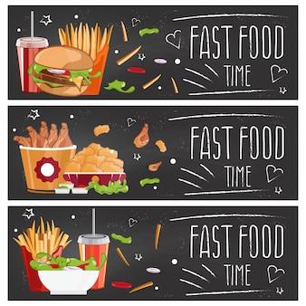 Satz fahnen für themaschnellimbiß mit hamburgern, fischrogen, kolabaum und hühnernuggets