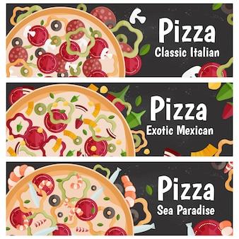 Satz fahnen für themenpizza mit flachem design des unterschiedlichen geschmacks auf tafel