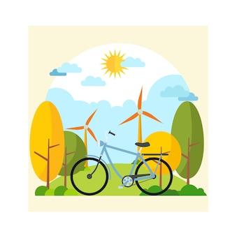 Satz fahrrad in der natur mit natürlicher atmosphäre