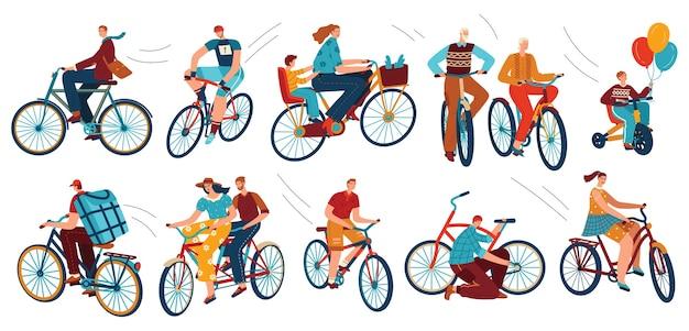 Satz fahrradfahrer auf fahrrädern isoliert auf weiß