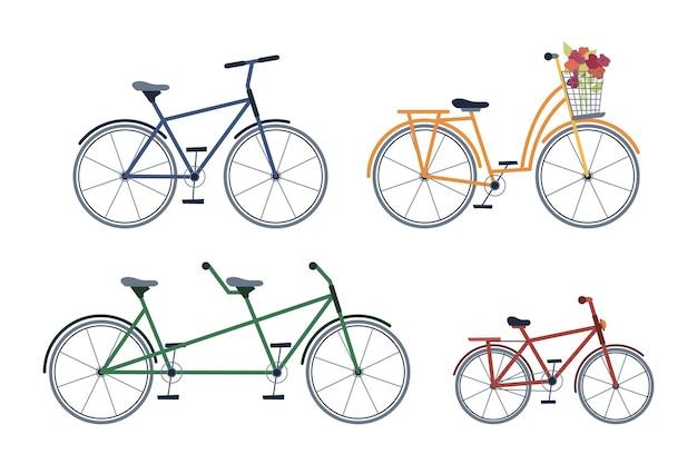 Satz fahrräder für erwachsene und kinder, zweisitzer, mit blühenden blumen