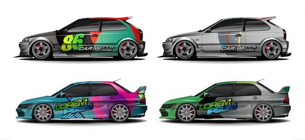 Satz fahrzeuggrafik-kit. moderner abstrakter hintergrund für autoverpackungsbranding und automobilaufkleberaufkleberlackierung