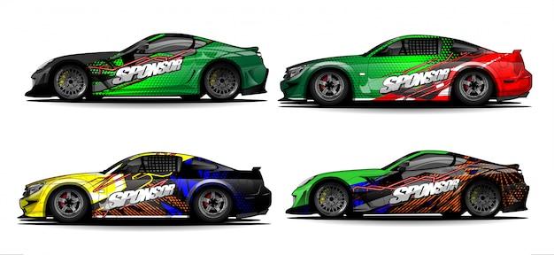 Satz fahrzeuggrafik-kit-vektor. moderner abstrakter hintergrund für autoverpackungsbranding und automobilaufkleberaufkleberlackierung