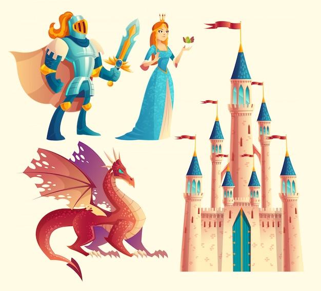 Satz fantasie, märchenspiel-designgegenstände lokalisiert auf weißem hintergrund