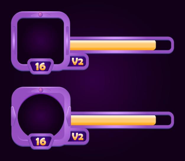 Satz fantasy-rahmen mit level- und fortschrittsbalken für game-ui-elemente