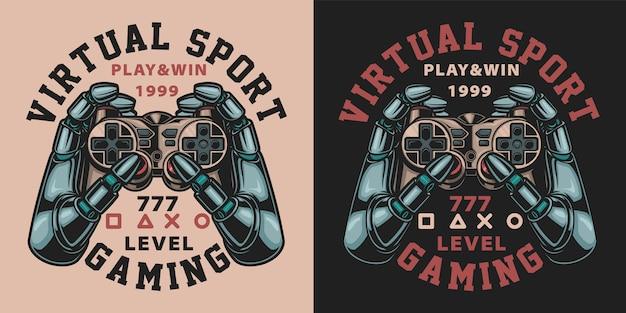 Satz farbabbildungen mit joystick im vintage-stil. text in einer separaten gruppe.
