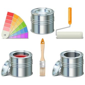 Satz farbdose und pinsel lokalisiert auf weiß