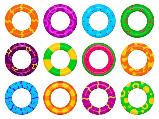 Satz farbe aufblasbare gummischwimmringe realistische bilder mit buntem muster. gummi-schwimmringset, seespaß und sicherheit. wasser- und strandthema, sichere symbole. sommerurlaub. illustration.
