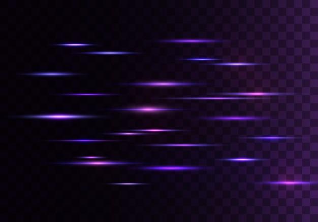 Satz farbe horizontale strahlen, linse, linien. laserstrahlen. blauer, lila leuchtender abstrakter funkelnder gezeichneter transparenter hintergrund. lichtfackeln, wirkung.