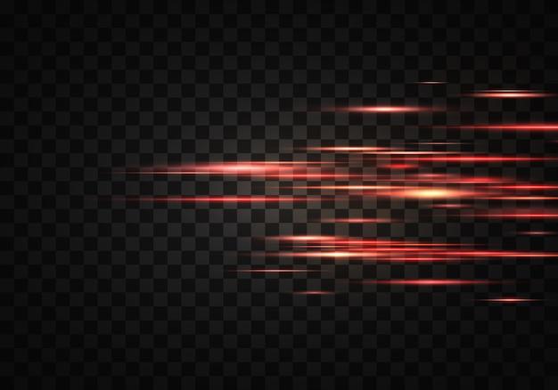 Satz farbe horizontale strahlen, linse, linien. laserstrahlen. orange, rotes leuchtendes abstraktes funkeln gezeichnet auf einem transparenten hintergrund. lichtfackeln, wirkung.