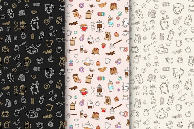 Satz farbe und schwarzes muster mit handgezeichneten doodle-desserts und kaffee, tee