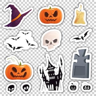 Satz farbige aufkleber mit den attributen von halloween.