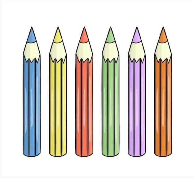 Satz farbige bleistiftikonen. vector farbiges briefpapier, schreibmaterialien, büro- oder schulbedarf lokalisiert auf weißem hintergrund. cartoon-stil