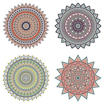 Satz farbige blumenmandalas, vektorillustration